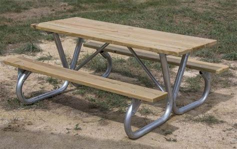 galvanized picnic table frame 8 ft rectangular wooden picnic table bolted galvanized