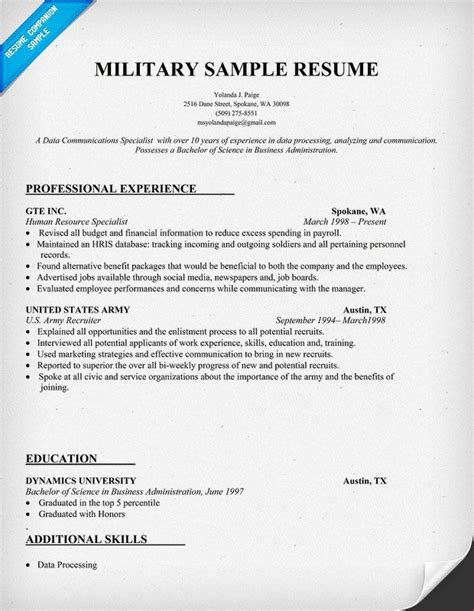 Soldier Resume resume sle could be helpful when working with
