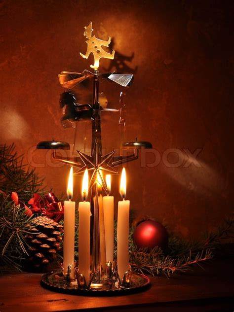 christmas decoration  candle party stock photo