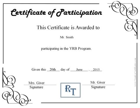 certification of participation free template certificate of participation certificate templates
