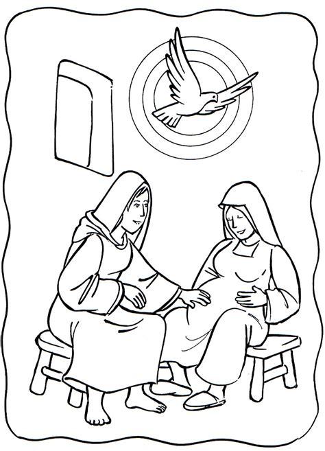 Luke 1 39 56 Mary Visited Elizabeth Mary Elizabeth And Elizabeth Coloring Pages