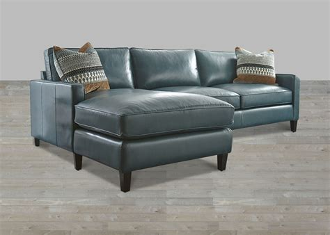 Turquoise Leather Sectional With Chaise Lounge