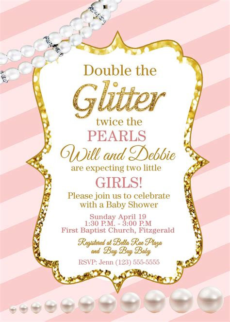 Giltter And Pearls Pink And Gold Baby Shower Invite Pink And Gold Invitations Templates