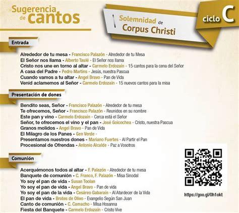 canciones para misa el cancionero cat 243 lico cantos para corpus christi ciclo c