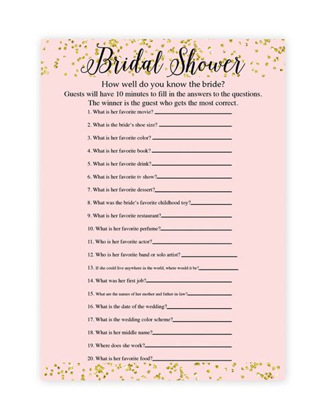 printable bridal shower questions free printable bridal shower games how well do you know