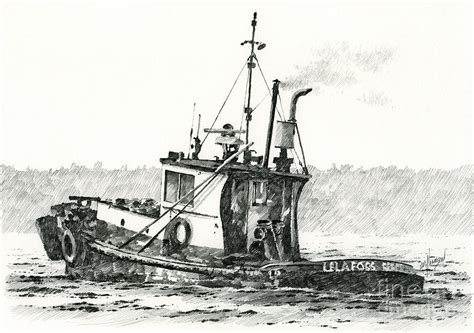 tugboat drawing tugboat lela foss drawing by james williamson