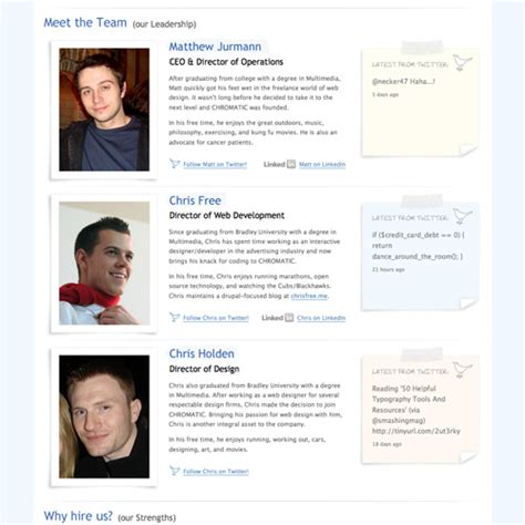 bio exles for presenters meet the team pages exles and trends smashing magazine