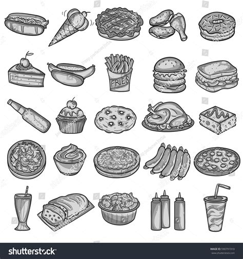 fast food doodle vector food america traditional fast food doodle 库存矢量图 590791910