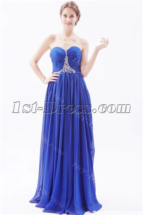 Column Royal Blue Long Chiffon Plus Size Evening Dress:1st