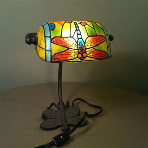 Stained Glass L Base style dragonfly bankers desk l metal base