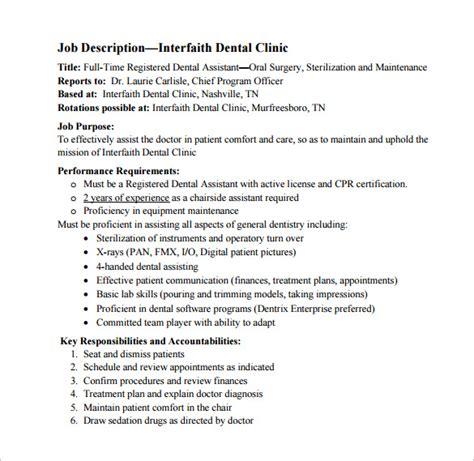 Description For A Dentist by 9 Dental Assistant Description Templates Free Sle Exle Format Free