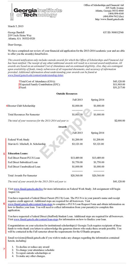 Saas Award Letter Explained Understanding The Letter Ga Tech Financial Aid