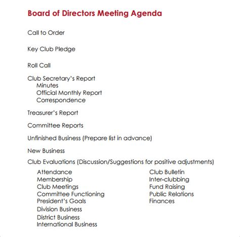 directors meeting agenda template sle board meeting agenda template 11 free documents