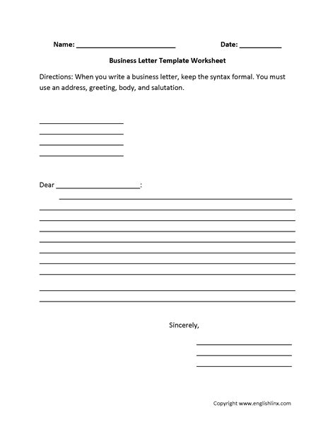 Business Letter Template Grade 5 writing worksheets letter writing worksheets