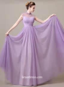 Burgundy Drapes Elegant Illusion High Neck Lavender Chiffon Long A Line