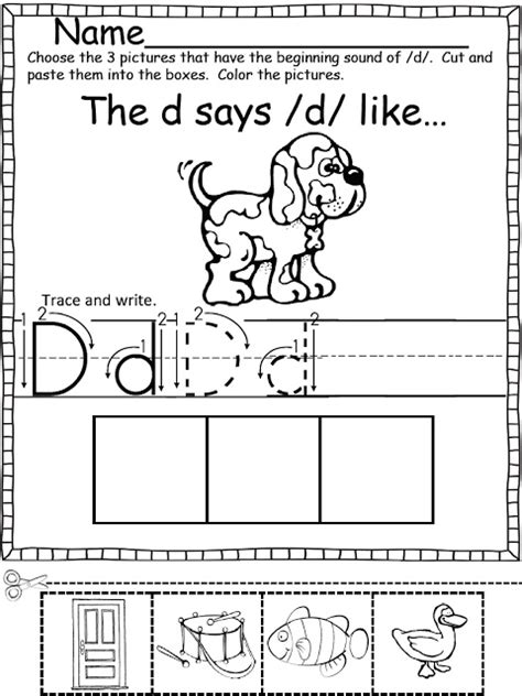 Beginning Sounds Cut And Paste Worksheets by Beginning Sounds Color Cut And Paste Kindergarten