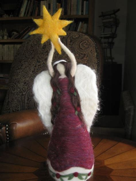 penguin angel tree topper needle felted tree topper waldorf by ailieholland aniołki