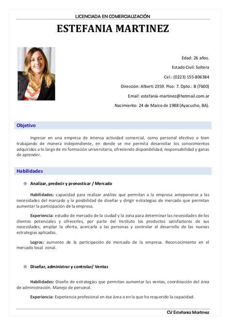 Modelo Curriculum Vitae De Secretaria Cv Estefania Martinez
