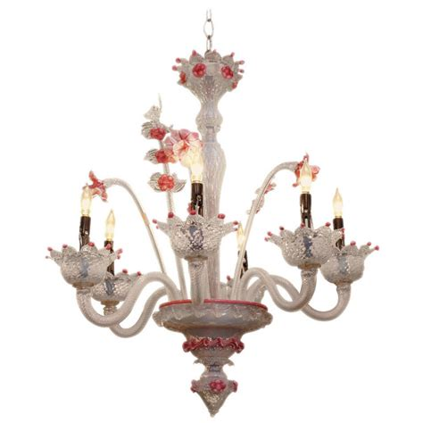 blown glass chandelier 1980s pink floral murano blown opalescent six light glass chandelier for sale at 1stdibs