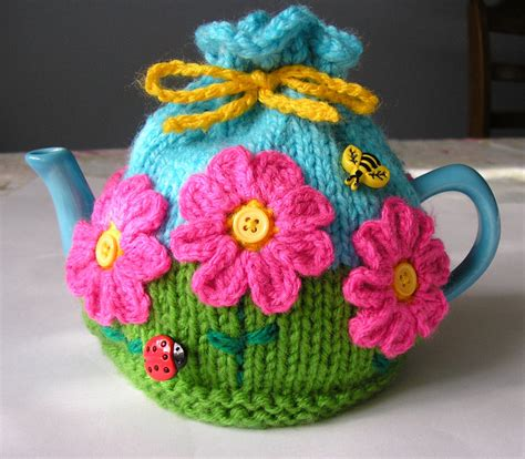 tea cozy knitting pattern justjen knits stitches flower garden tea cosy