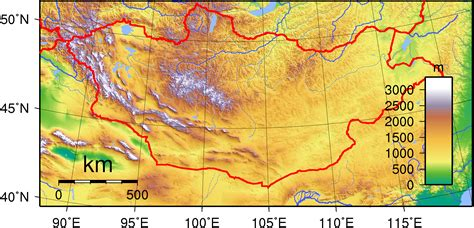 5 themes of geography mongolia file mongolia topography png 维基百科 自由的百科全书