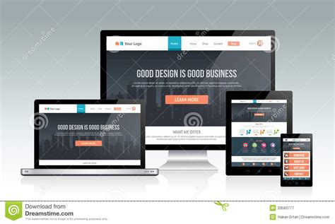 homepage design concepts responsive website template on multiple devices stock