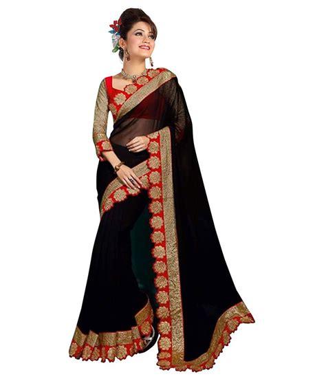fashion sarees mahalaxmi fashion black georgette saree buy mahalaxmi