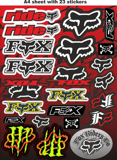 Sticker Bike Race by Fox Stickers Race Stickers Auto Decals Helmet Decal