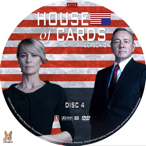 House Of Cards Dvd by House Of Cards Season 3 Dvd Cover Labels 2015 R1 Custom