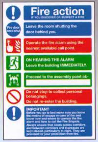 fire action notice hotel and guest houses