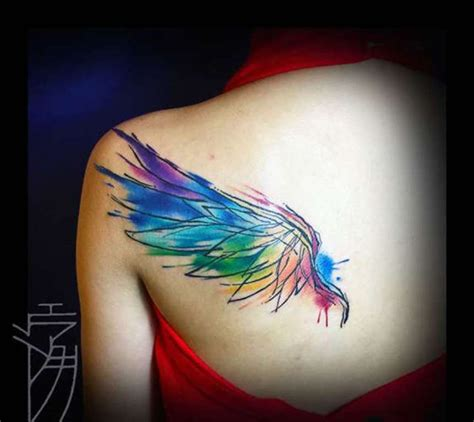 colored wings tattoo 63 outstanding wings shoulder tattoos