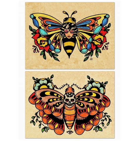old school tattoo flash school flash bee butterfly skull moth prints