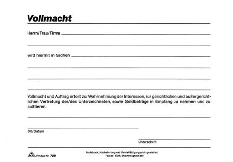 Schweiz Brief Zoll Formular Vollmacht Kostenlos