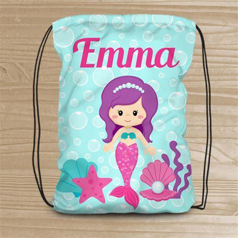 personalized mermaid drawstring backpack beach backpack