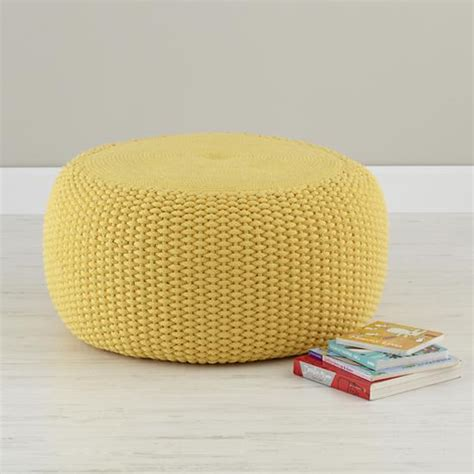 Pouf Seating Ottoman Seating Yellow Knit Braided Pouf Seater The Land Of Nod