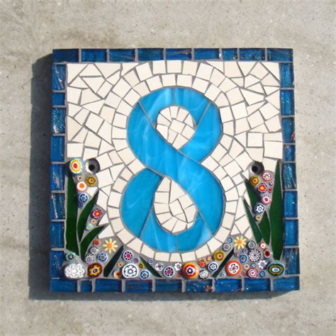 mosaic numbers pattern custom mosaic house number sign plaque street address yard