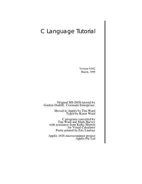 tutorial for c language c programming tutorial pdf chempiratebay