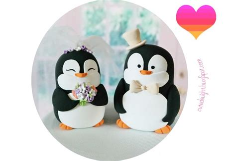 Handmade And Groom Cake Toppers - penguin wedding cake topper penguins cake topper penguin