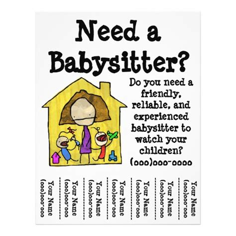 free babysitting flyer templates 50 flyers flyer templates and