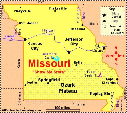 kansas city missouri map usa missouri facts map and state symbols enchantedlearning