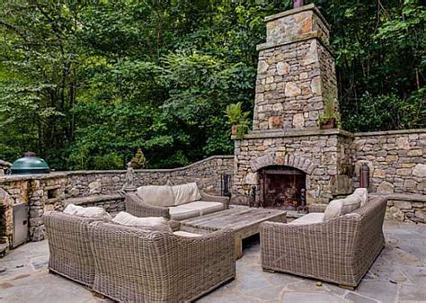 outdoor fireplace with chimney outdoor furniture design