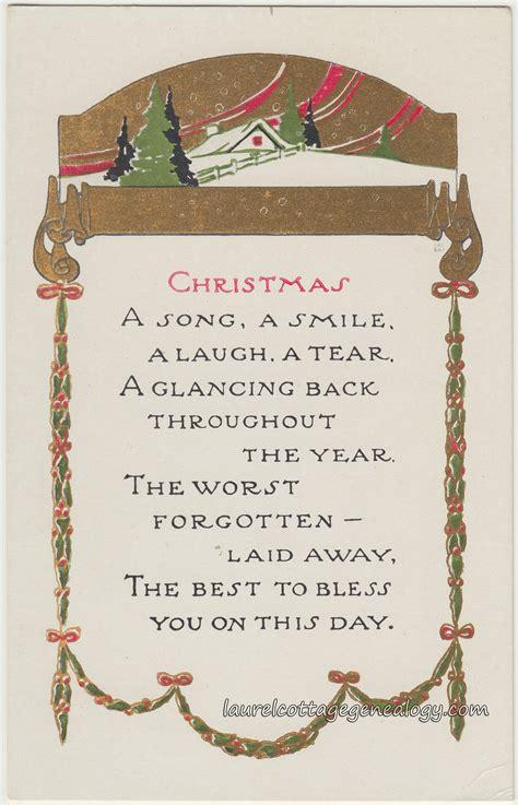 vintage christmas postcards  poems laurel cottage genealogy