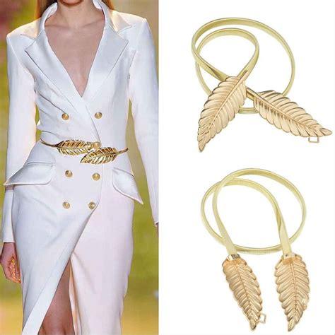 Sale Ban Pinggang Trendy R01 new leaf gold metal belt fashion dress waist elastic