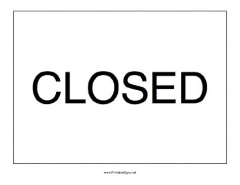 closed sign template printable closed sign