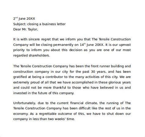 Business Letter Closing Definition Sle Closing A Business Letter 6 Documents In Word Pdf