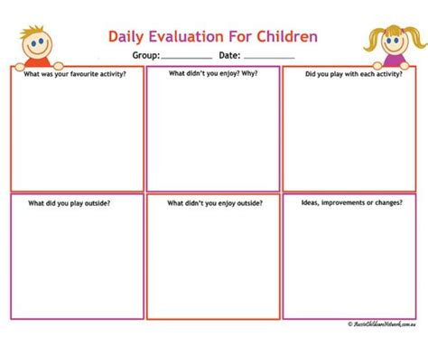 printable eylf templates daily evaluation for children aussie childcare network
