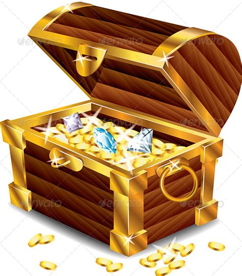 opened treasure chest with treasures by andegro4ka