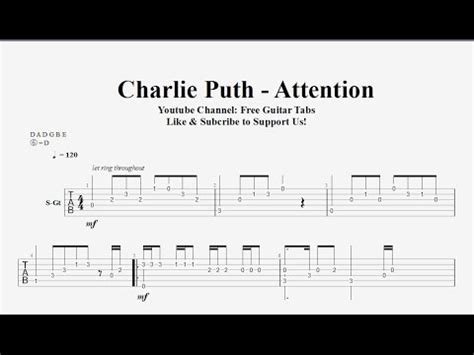charlie puth chord how long charlie puth attention guitar tab free tab hd 1080p