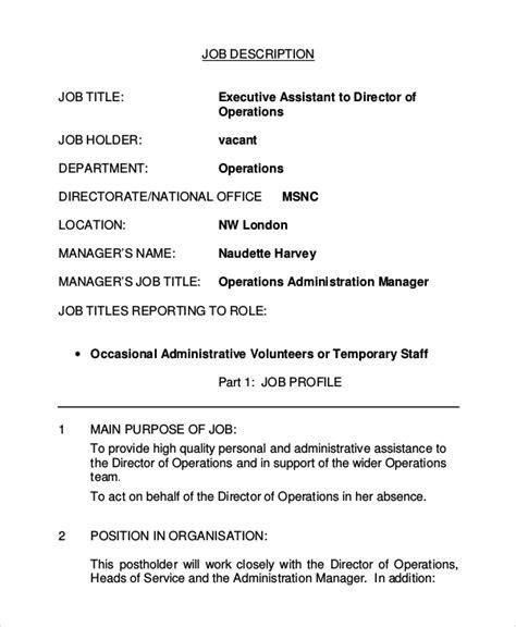 8 Executive Assistant Job Description Sles Sle Templates Executive Assistant Description Template