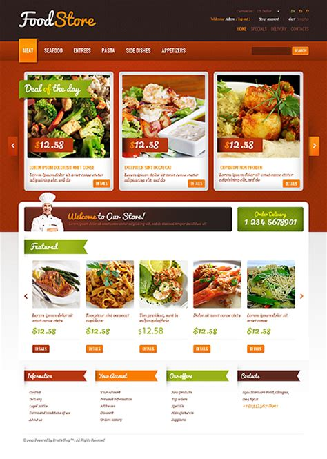 20 User Friendly Prestashop Templates For Your Online Catering Business Catering Website Templates Free